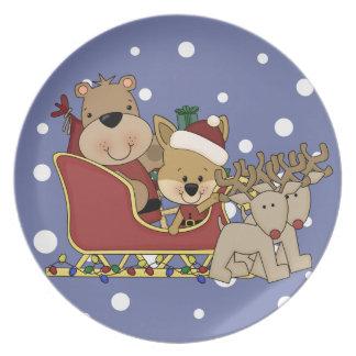 Here Comes Santa Bear Dinner Plate