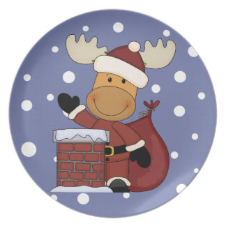 Here Comes Santa Moose Plate