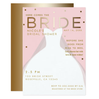 Here comes the BRIDE Chic Pink Gold Bridal Shower Card