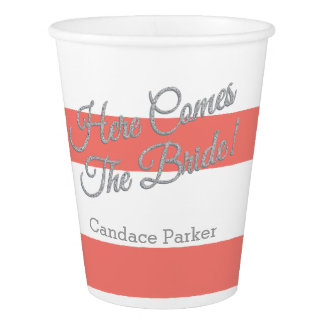 Here Comes the Bride, Coral Stripes Paper Cup