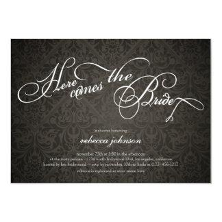 Here comes the bride Elegant Damask Bridal Shower Card