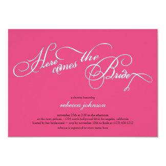 Here comes the bride - Pink Bridal shower invites