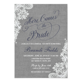 Here Comes the Bride Shower in gray and blue Card