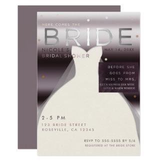 Here comes the BRIDE Silver Purple Bridal Shower Card