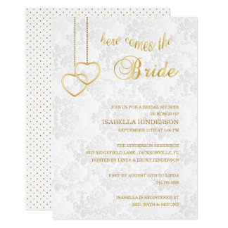 Here Comes the Bride - White & Gold - Shower Card