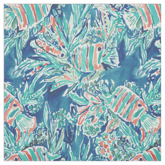 HERE FISHIE Tropical Fish Nautical Pattern Fabric