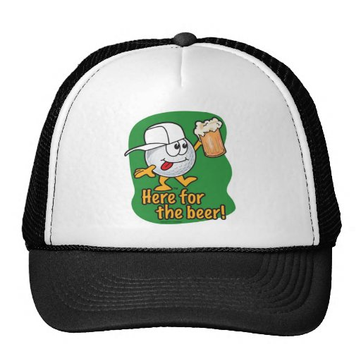 Here For The Beer Cartoon Golfer Mesh Hats