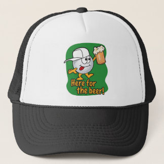 Here For The Beer Cartoon Golfer Trucker Hat