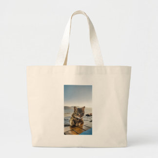 """Here I am"" says the Cat Large Tote Bag"