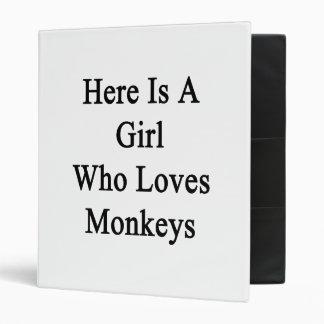 Here Is A Girl Who Loves Monkeys Vinyl Binders