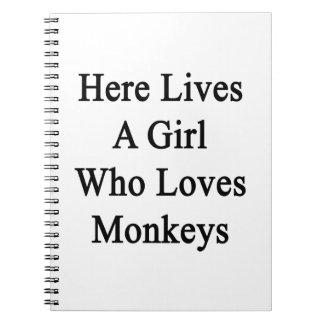 Here Lives A Girl Who Loves Monkeys Spiral Notebooks