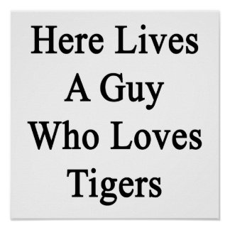 Here Lives A Guy Who Loves Tigers Posters