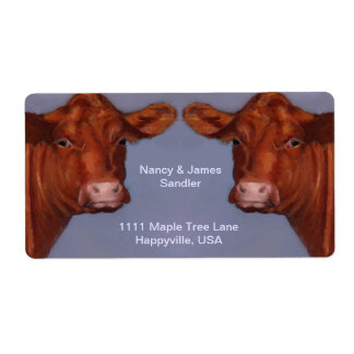 Hereford Beef Couple: Original Oil Pastel Art Shipping Label