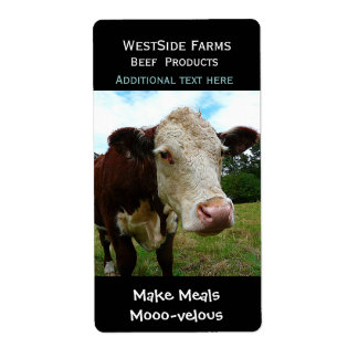 Hereford Beef Cow Dairy  Product Label Sticker Shipping Label