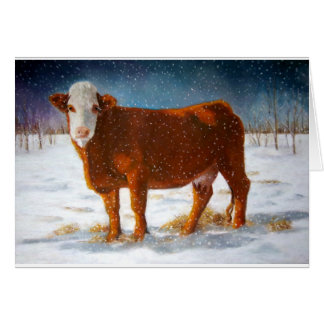 HEREFORD BEEF COW: PASTEL ART CARD