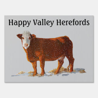 Hereford Beef: Farm Sign: Oil Pastel Painting Sign