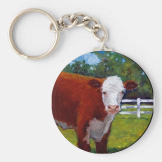 HEREFORD HEIFER COW ART BASIC ROUND BUTTON KEYCHAIN