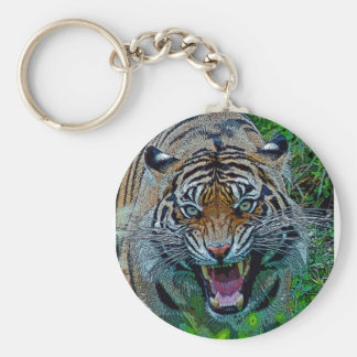 Here's Looking At You Tiger Basic Round Button Keychain
