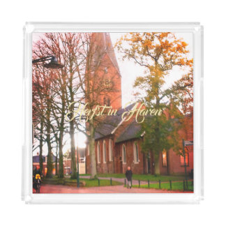 Herfst in Haren Dorpcentrum Netherlands Holland Acrylic Tray