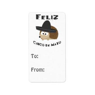 Hérisson de Feliz Cinco De Mayo Étiquette D'adresse