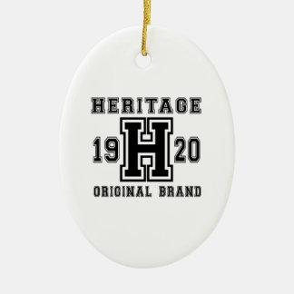 HERITAGE 1920 ORIGINAL BRAND BIRTHDAY DESIGNS CERAMIC ORNAMENT