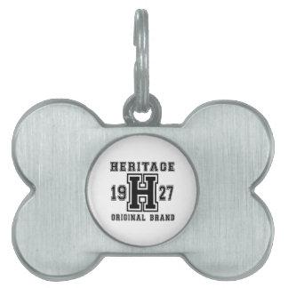 HERITAGE 1927 ORIGINAL BRAND BIRTHDAY DESIGNS PET NAME TAG