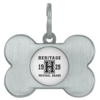 HERITAGE 1929 ORIGINAL BRAND BIRTHDAY DESIGNS PET NAME TAG