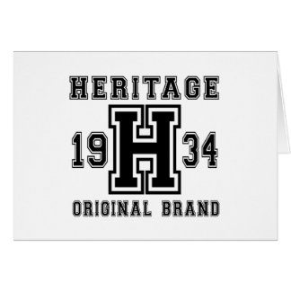 HERITAGE 1934 ORIGINAL BRAND BIRTHDAY DESIGNS CARD