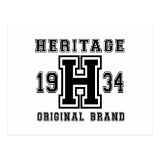 HERITAGE 1934 ORIGINAL BRAND BIRTHDAY DESIGNS POSTCARD