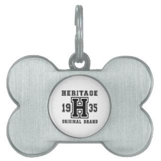 HERITAGE 1935 ORIGINAL BRAND BIRTHDAY DESIGNS PET NAME TAG