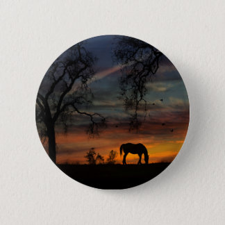 Heritage Oak Trees and Horse In Sunrise Buttons