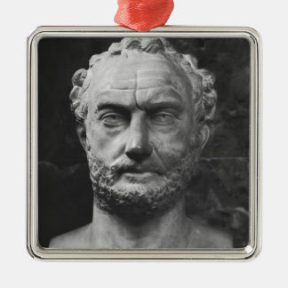 Herm of a man, said to be Thucydides Silver-Colored Square Ornament