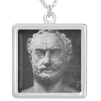 Herm of a man, said to be Thucydides Silver Plated Necklace