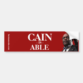 Herman Cain: Cain Is Able - Red Background Car Bumper Sticker