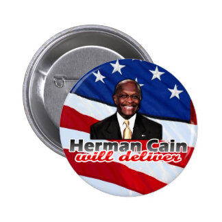 Herman Cain Will Deliver, Right-Wing Pizza Parody 2 Inch Round Button