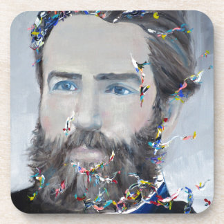 herman melville - oil portrait coaster