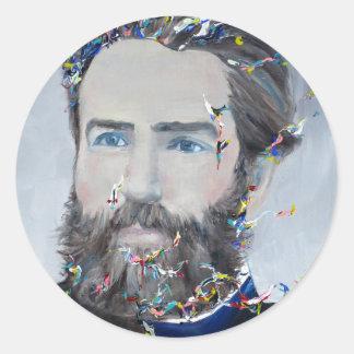 herman melville - oil portrait round sticker
