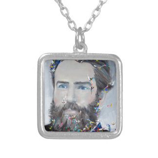 herman melville - oil portrait silver plated necklace