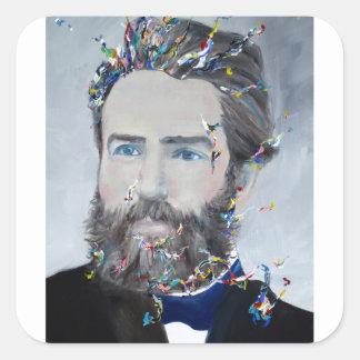 herman melville - oil portrait square sticker