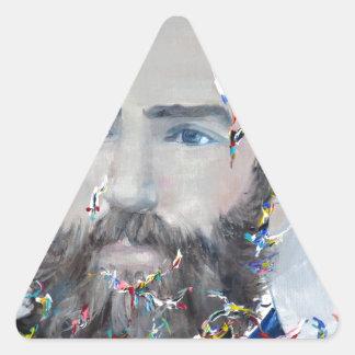 herman melville - oil portrait triangle sticker