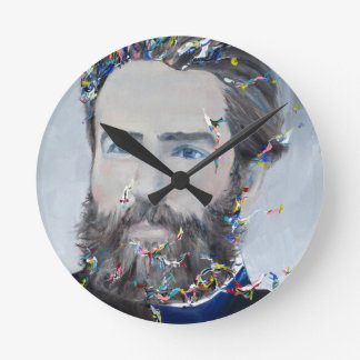 herman melville - oil portrait wall clock