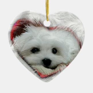 Hermes the Maltese Ceramic Heart Ornament