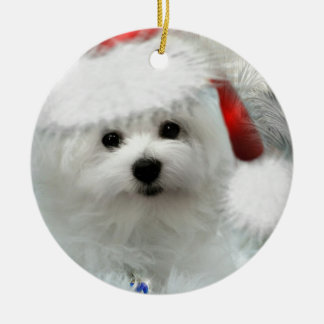Hermes the Maltese Ceramic Ornament