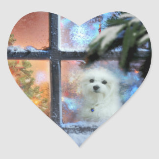 Hermes the Maltese Heart Sticker