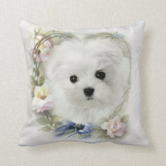 Hermes the Maltese Throw Pillow/Cushion Throw Pillow