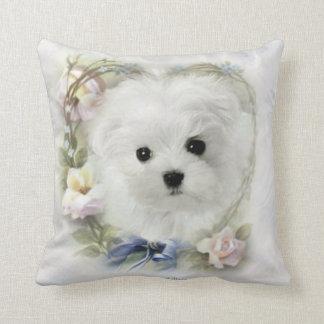 Hermes the Maltese Throw Pillow/Cushion Throw Pillow