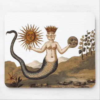 Hermetic Arts Merman Mouspad with sun and moon Mouse Pad