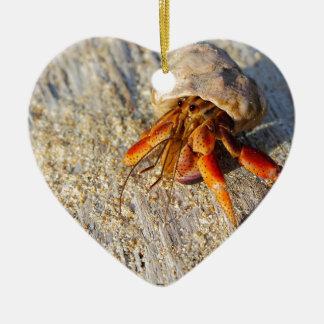 Hermit Crab Ceramic Heart Ornament