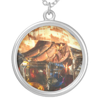 Hermit Crab on Ice Cubes Round Pendant Necklace