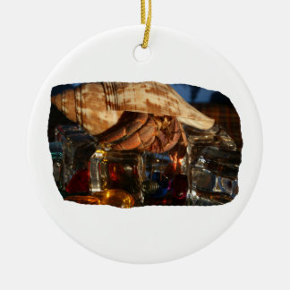 Hermit Crab on Ice Cubes Double-Sided Ceramic Round Christmas Ornament